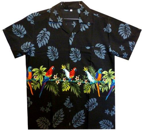 Funky Hawaiihemd, Papagei Brustdruck, schwarz, (Papagei Muster Kostüm)