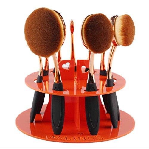 Plateau de cosmétique, Tonsee 10 trous Oval Maquillage porte-brosse Séchage Rack Organisateur - Pas de brosse - Orange