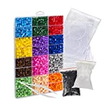 EVORETRO Ensemble Pixel Art de 6800 Perles à Repasser - 14 Couleurs incluant 4 Plaques et Pince - Loisirs récréatifs Idéal pour Bijoux d'enfants, Animaux et Figurines.