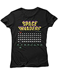 LaMAGLIERIA T-Shirt for Woman Space Invaders - Tee Shirt 100% Cotton