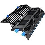 Amir PS4 Vertical Stand, Ventilateur de Refroidissement, PS4 Vertical Stand +14 Stockage de Logiciel de Jeu, 2in1, PS4 Multi-Fonctions Support Vertical, HUB 3 Port, Pas de Ventilateur de Bruit