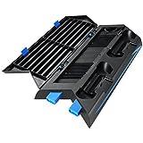 AMIR PS4 Vertical Stand, Ventilateur de Refroidissement, PS4 Vertical Stand +14 Stockage de Logiciel de Jeu, 2in1, PS4 Multi-Fonctions Support Vertical, HUB 3 Port, Pas de Ventilateur de Bruit...