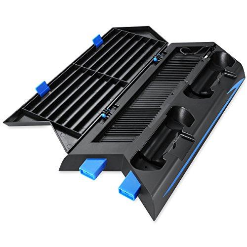 Amir PS4 Standfuß Vertikalständer, PS4 Kühler mit Ladestation - DualShock 4 Wireless Controller, Mit HUB Ports und Disc Storge Manager, Bis zu 14 Stück Disc zu stellen und 8 Stück Thumstick Kappen