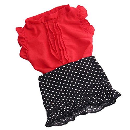MagiDeal Modische Puppenkleidung T-Shirt Mit Gefaltetem Rock Für 18'' Amerikanische Mädchenpuppe Zubehör (American Girl Puppe Rotes T-shirt)