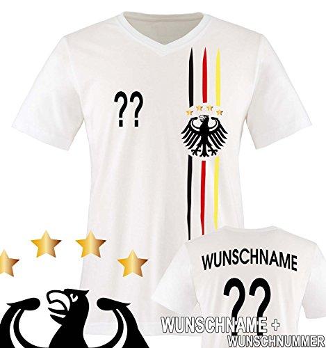 Comedy Shirts - WM 2018 | M1 | VORNE + HINTEN | Wunsch - Herren V-Neck T-Shirt - Weiss/Schwarz-Rot-Gelb Gr. L