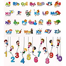 Luke And Lilly Alphabet & Numbers for Kids Wall Sticker - Pack of 2