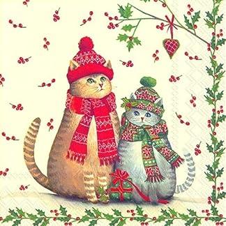 Servilletas de papel servilletas de papel con tecnología de 33 x 33 cm de Navidad diseño de árbol de Navidad para gatos