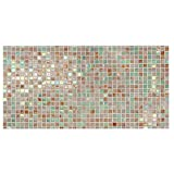 banjado Glas Nischenrückwand für Küche 100cm x 50cm | Küchenrückwand mit Motiv Grüne Fliesen | Spritzschutz selbstklebend ohne Bohren | Fliesenspiegel magnetisch und beschreibbar