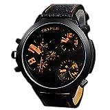 XXL Herrenuhr Triple Time Schwarz Orange, Retro, Chrono Look Design, U-Boot, Uhr jb-577