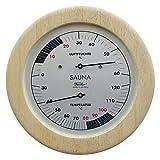 Sauna Thermometer und Hygrometer von Fischer im Holzgehäuse 155mm, Artikel 196TH-03, Made in Germany