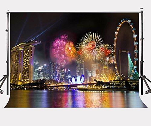 lylycty 10x 2,1Singapur City Night View Hintergrund Marina Bay Singapur Countdown Fotografie Hintergrund New Year celebration Party Foto Video Requisiten lyhui038 (Party City Marina)