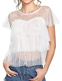 EUR 7,96 · ❤ Camiseta Atractiva de Las Mujeres,Las Mujeres Atractivas de Malla de Encaje Transparente