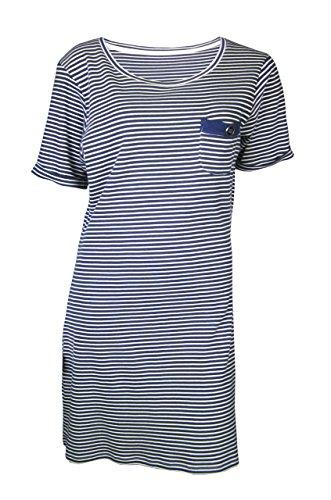 Rivers Trading Damen Nachthemd Blau Navy Gr. 18, Blau - Navy (Sleep-chemise Baumwolle Lace)