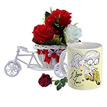 Sky Trends Valentine Gift For Boylfriend Special Designed Printed Coffee Mug Plastic Cycle With Artificial Flower Bunch & A Rose Best Gift For Propose Day