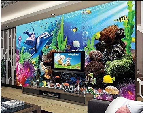 Carta da parati 3d photo wallpaper 3d murale carta da parati ocean acquario 3d tv parete impostazione pesce tropicale carta da parati per soggiorno parete, 350 cm x 245 cm