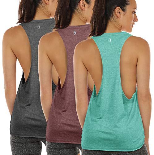 icyzone Sport Tank Top Damen Locker - Yoga Fitness Shirt Racerback Oberteile atmungsaktive (XS, Charcoal/Burgundy/Mint) (Fitness-kleidung Für Frauen)
