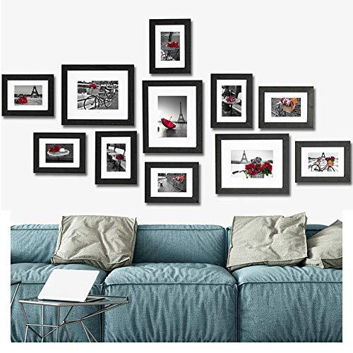 Muzilife Bilderrahmen Collagen 11er mit Passepartout Modern Bilderwand Natur Home Deko 8pcs 13x18cm + 3pcs 20x25cm (Schwarz)