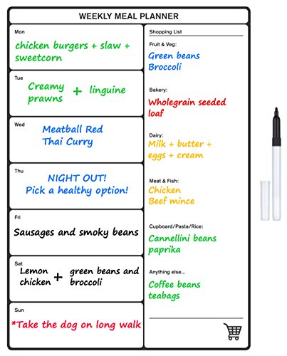 graphic about Weekly Family Planner named Magnetic Evening meal Planner and Refrigerator Buying Checklist Dry Wipe Whiteboard - Best Weekly Household Interest Board Organiser Motion Method or Day-to-day Food stuff Diary -