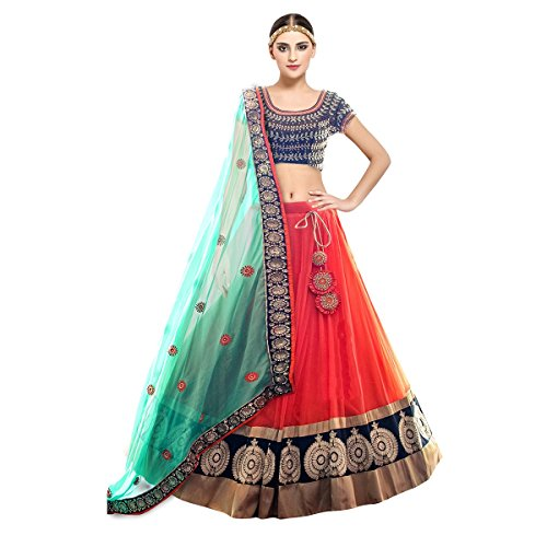 Pramukh Fashion Women\'s Semi-Stitched Lehenga Choli(kaya fanrta)