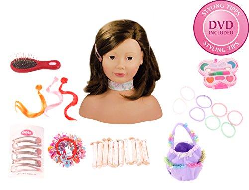 Preisvergleich Produktbild Götz 1192053 Haarwerk mit braunen Haaren und braunen Augen - 58-teiliges Frisierkopf- und Schminkkopf-Set - geeignet ab 3 Jahren