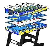 4-en-1 multi-función plegable mesa de billar ping pong mesa de hockey sobre hielo mesa futbolín juego de mesa para niños y adultos con tacos, pelota, tiza, estante, cepillo, 1 juego de tenis de mesa