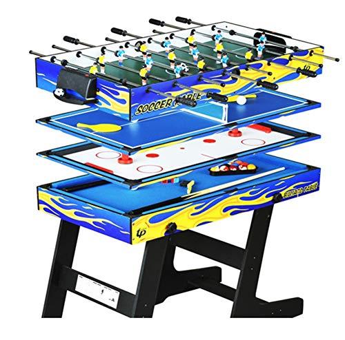 Lcyy-game 4-in-1 Multi-Funzione Pieghevole Tavolo da Biliardo Ping Pong Tavolo Hockey su Ghiaccio Tavolo Biliardino Gioco da Tavolo per Bambini e Adulti con spunti, Palla, Gesso, Rack, Pennello