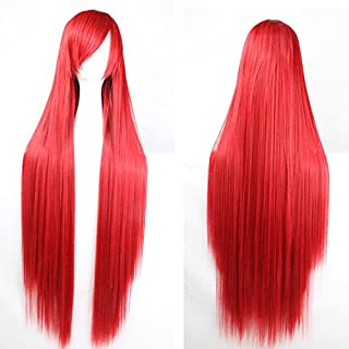 Womens Ladies Girls 100cm Red Color Long Straight Wigs High Quality Hair Carve Cosplay Costume Anime Party Bangs Full Sexy Wigs