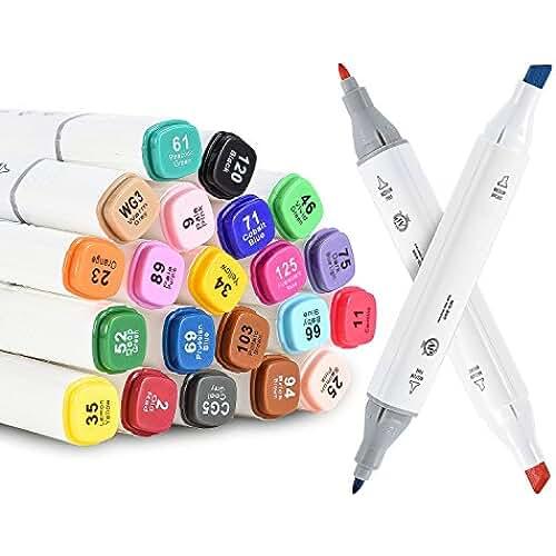 mas dibujos kawaii Markers Bolígrafos, unitystar Markers Set con 21colores no tóxica Bolígrafos Twin Tip para Graffiti, Pintar y bajo strichen