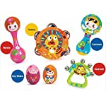 Early Education 0-1 years Olds Baby Musical Instruments Toy Set Timbrel Maracas Sand Eggs Shaker Hand Bells Bell Drum Baby Rattle for baby & Kids Boys and Girls 5