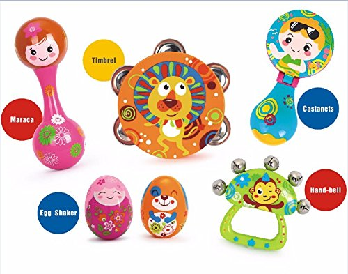 Early Education 0-1 years Olds Baby Musical Instruments Toy Set Timbrel Maracas Sand Eggs Shaker Hand Bells Bell Drum Baby Rattle for baby & Kids Boys and Girls 2