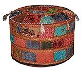 GANESHAM Pouf Pouf Pouf Pouf Pouf Pouf Ottoman Indien Décor Salon Hippie Patchwork Boho Chic Bohème Brodé Main Ethnique Fait Main Vintage Coton Coussin De Sol Coussin 22° Dia. Hauteur : 14 cm.