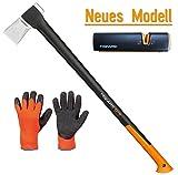 FISKARS© Set Spaltaxt X27 - XXL + Xsharp Axt- und Messerschärfer + Handschuhe