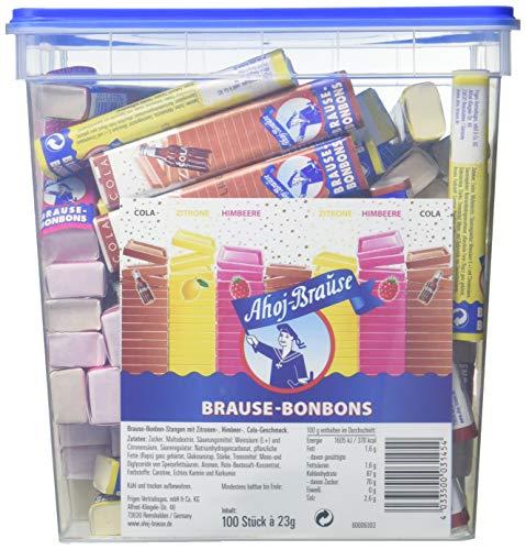 Ahoj-Brause Brause-Bonbon-Stangen – Brause-Bonbons verpackt als Stange – 3 verschiedene Geschmacksrichtungen: Zitrone, Cola und Himbeere - 2.3 kg Eimer mit 100 Stangen