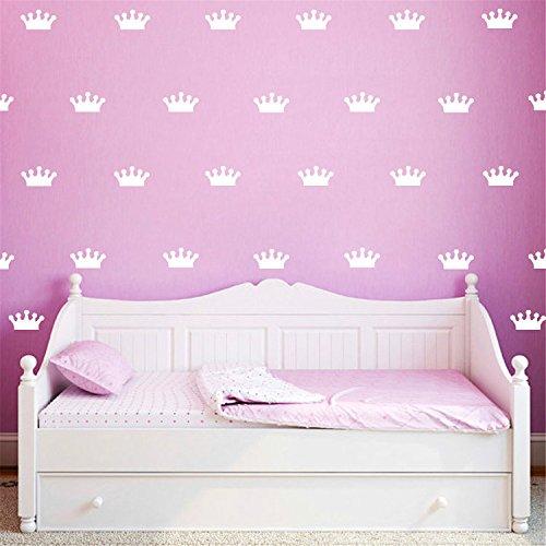 Kinderzimmer Königin Kronen Vinyl Wand Aufkleber Entfernbare Kunst Ausgangs Dekorationen DIY Tapete, Weiß (Monogramm-aufkleber)