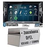 Opel Vivaro A Combo C - Autoradio Radio JVC KW-V240BT - DVD Bluetooth MP3 USB - Einbauzubehör - Einbauset