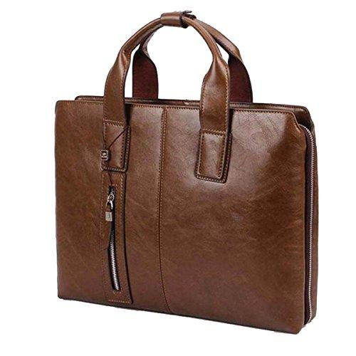 Yy.f Herren PU Leder Schultertasche Messenger Bag Herren Handtasche Business Casual Aktentasche Große Geschäftsreise Arbeitstasche (schwarz Und Braun) Brown