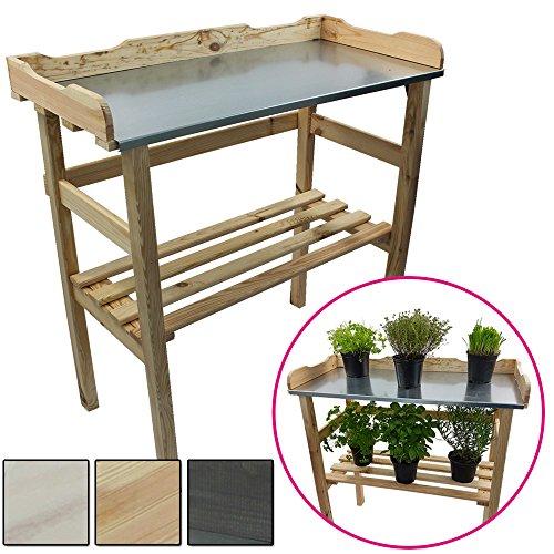 Pflanztisch aus Holz 82 x 78 x 38 cm mit verzinkter Metall-Arbeitsfläche Gartentisch aus FSC zertifiziertem Holz mit Ablagefläche Wetterfest Holzpflanztisch für Garten Balkon und...