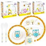 Kinder Baby Geschirr SET(5 Teile: 2x Teller, Tasse, Besteck) MIKROWELLENGEEIGNET (EULE)