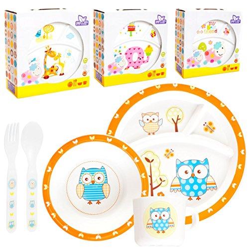 Kinder Baby Geschirr SET(5 Teile: 2x Teller, Tasse, Besteck) MIKROWELLEN- & SPÜLMASCHINENGEEIGNET (SCHAF)