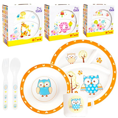 Kinder Baby Geschirr SET(5 Teile: 2x Teller, Tasse, Besteck) MIKROWELLEN- & SPÜLMASCHINENGEEIGNET (GIRAFFE)