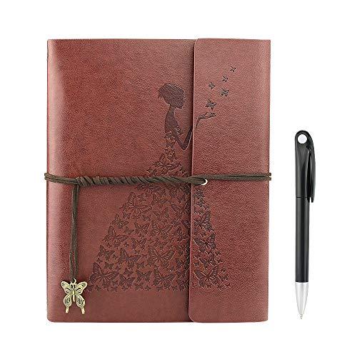YAOHU Libreta Bonitas, Cuaderno de Cuero Vintage Diario de Viaje Recargable Bloc de Notas con Páginas en Blanco Regalo original San Valentín Navidad cumpleaños para Hombre Mujer Niños, Marrón L