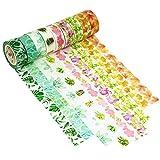 9er Set Washi Tape 7mx15mm Multi-pattern Dekoband Masking Paper Tape DekoKlebeband DIY Scrapbook Dekorative Herbst Frühling Blumen Pflanze Muster Dawnzen