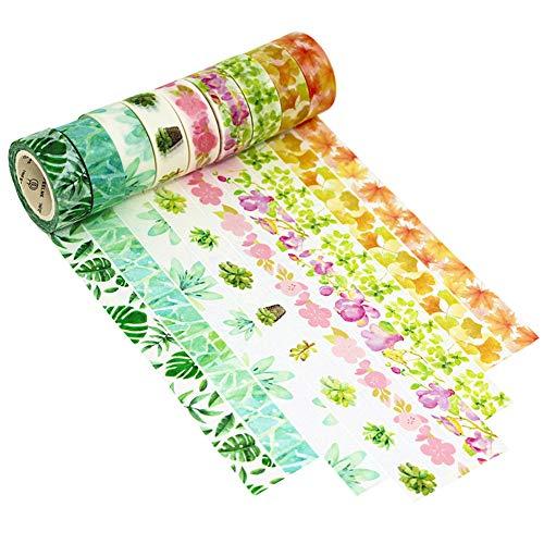9er Set Washi Tape 7mx15mm Multi-pattern Dekoband Masking Paper Tape DekoKlebeband DIY Scrapbook Dekorative Herbst Frühling Blumen Pflanze Muster Dawnzen®