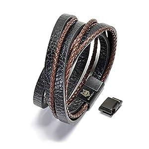 DAVALI Lederarmband für Männer inkl. Verlängerung und Metalldose – matt-schwarzer Edelstahl – Magnetverschluss – schwarz-braun – tolles Geschenk