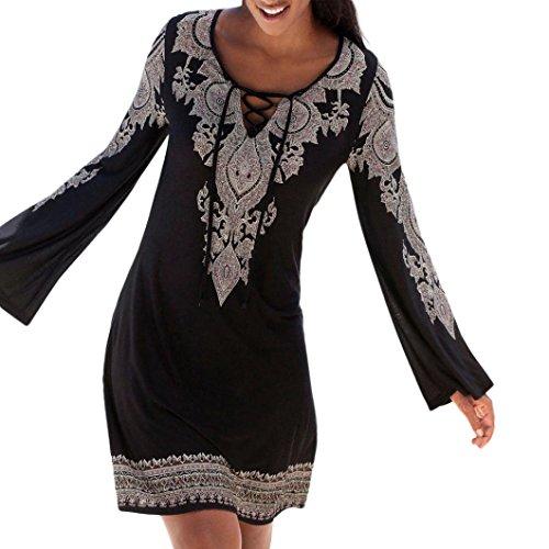 Amphia Langarm Sommerkleid Casual Kleid A Linie Minikleid Elegant Kleider Knielang Strandkleider Lose Shirtkleid (Schwarz, XL)
