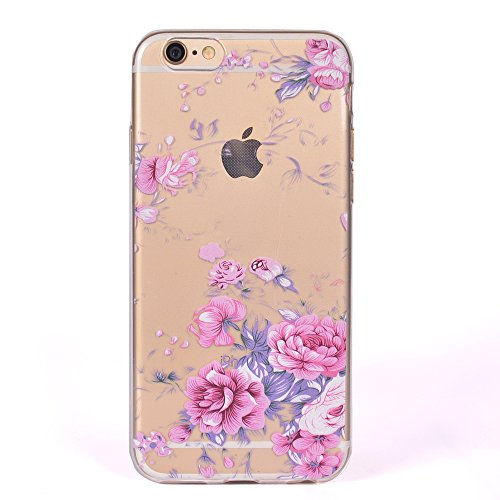 iphone SE/5/5S Handyhülle,iphone SE/5/5S Silikon Hülle,Cozy Hut 3D Handyhülle Muster Case Cover Für iphone SE/5/5S Liquid Crystal Ultra Dünn Crystal Clear Transparent Handyhülle Soft Cover Premium Ant rosa Rosen