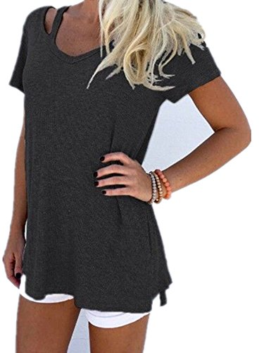Outgobuy Women Girls Summer Solid Color V-Neck Short Sleeve T-Shirt Casual Loose T-Shirt (XL, Black-1) (Loose Fit-kids-shirt)