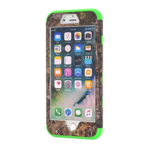 "iPhone 7 Plus Hülle,Lantier Tarnung Wald Design Schock Resorption Drop Widerstand 3 in 1 Combo Hart Verteidiger Kunststoff Schutzhülle für iPhone 7 Plus 5.5"" 2016 Lila Green Tree Green"