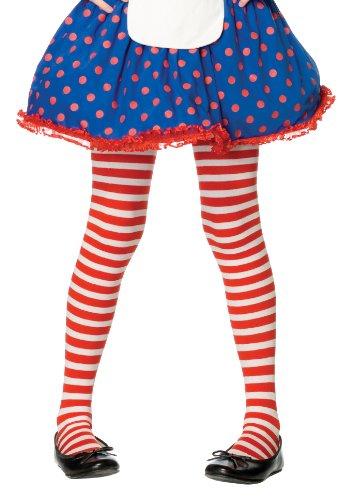 Leg Avenue 4710  - Gestreifte Strumpfhose, Größe: XL, (Rote Und Socken Kostüm Weiße Gestreifte)