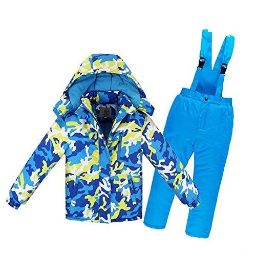XuBa - Conjunto de Pantalones de esquí para niños, niñas y niños, Impermeable, Ropa Gruesa para Deportes de Invierno, Blue+Yellow 6A (Height 120cm), 6A (Height 120cm)